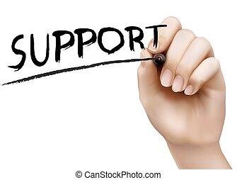 marcador, support., mão, vector., escrita