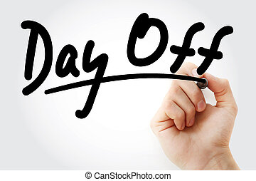 marcador, texto, desligado, dia