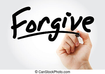 marcador, texto, perdonar