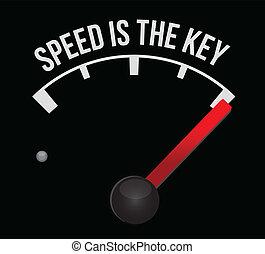 marcador, velocidad, velocímetro, llave
