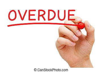 marcador, vermelho, overdue