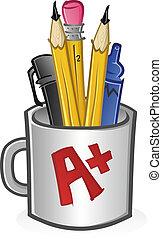 marcadores, jarra, carboncillos, plumas, lápices