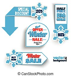 marcadores, venda, inverno, snowflakes
