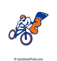 marcar, sinal, bicicleta, conduzir, snowboard, atleta