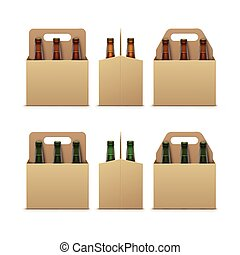marcare caldo, imballaggio, vuoto, chiudere, bottiglie, isolato, birra, chiuso, bianco, cartone, marrone, scuro, vetro, fondo, fronte, trasparente, luce, su, vettore, verde, vista laterale