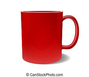 marcare caldo, tazza, isolato, rosso, vuoto