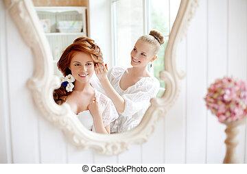 marcas, antes, estilista pelo, boda, novia
