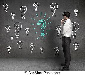 marcas, dibujos, mirar, pregunta, hombre de negocios