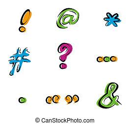 marcas, sinais, ícones