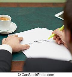 marcatura, parole, in, uno, affari, ciclo, definizione