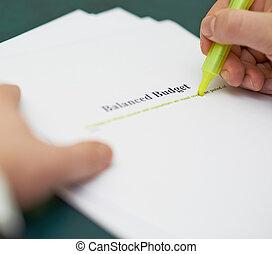 marcatura, parole, in, uno, budget bilanciato, definizione