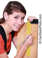 marcatura, serie-quadrato, carpentiere, legno, femmina, fuori