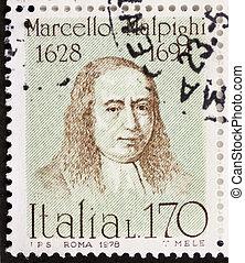 Marcello Malpighi postage stamp - ITALY - CIRCA 1978: a...