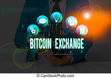 marché, écriture, où, commerçants, numérique, bitcoin, boîte, achat, signification, bitcoins., concept, vendre, exchange., texte