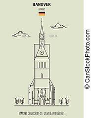 marché, église, germany., hanovre, george, repère, james, icône, rue