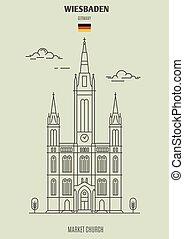 marché, église, germany., repère, wiesbaden, icône