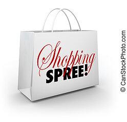 marché, achats, argent poche, sac, fête, magasin