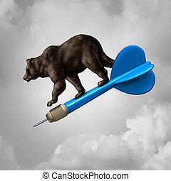 marché baisse, prédiction, cible