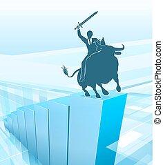marché, concept, business, reussite, taureau