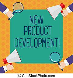 marché, development., business, processus, photo, projection, produit, analyse, écriture, note, verre, megaphone., tenant mains, showcasing, nouveau, hu, apporter, magnifier