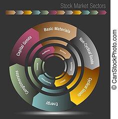 marché, diagramme, secteurs, stockage