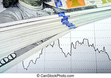 marché, dollars, diagramme, billet banque