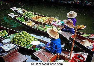 marché flottant, dans, thaïlande