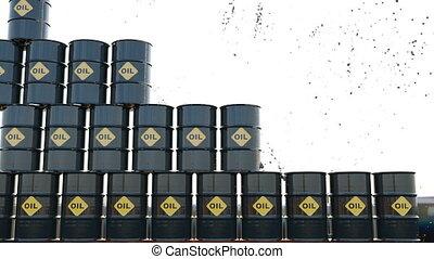 marché, goutte, huile, 3d, render, crise, recession., animation, coût