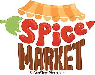 marché, illustration, épice