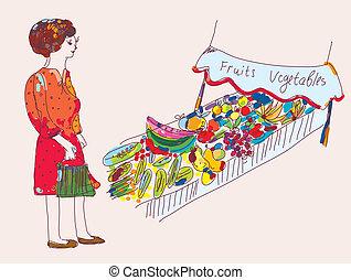 marché, légumes, femme, dessin animé, fruit