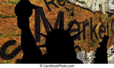 marché, liberté, contre, cassé, fond, statue