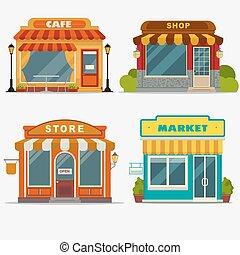marché, magasin, petit, rue, devant, magasin