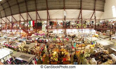 marché, mexique, guanajuato, nourriture, intérieur, timelapse, vue