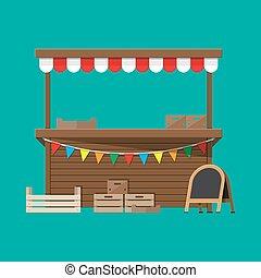 marché, nourriture, craie, drapeaux, stalle, planche, caisses