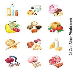 marché nourriture, icônes