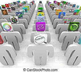 marché, rangées, têtes, gens, apps, -, icône