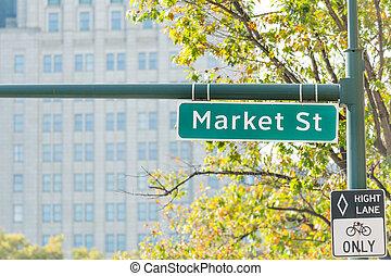 marché rue, signe