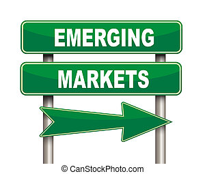 marchés, emerger, vert, panneaux signalisations