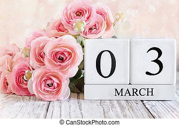 March 03 Calendar Blocks with Pink Ranunculus