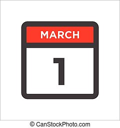March 1 calendar icon with day of month