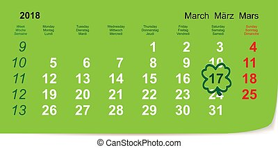 March 17, 2018 St. Patrick's Day Calendar