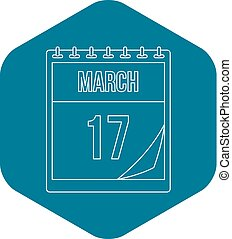 March 17 calendar icon, outline style