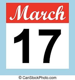 March 17 St. Patrick's Day on a calendar