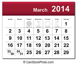 March 2014 calendar - EPS10 vector file. March 2014...