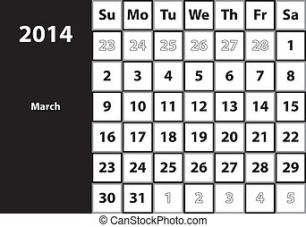March 2014 HUGE monthly calendar