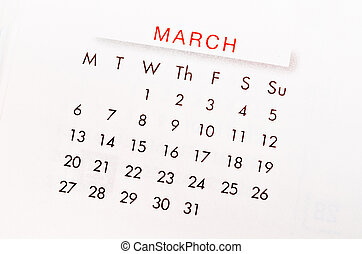 March 2017 calendar page. - Close up March 2017 calendar...