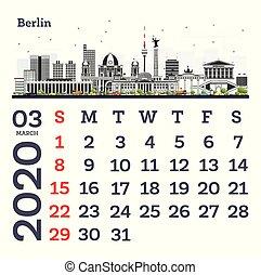 March 2020 Calendar Template with Berlin City Skyline.