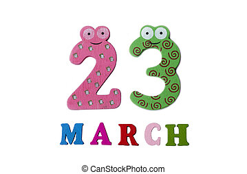 March 23 on white background, numbers and letters.