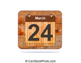 March 24. - Calendar with the date of March 24.