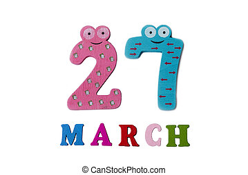 March 27 on white background, numbers and letters.